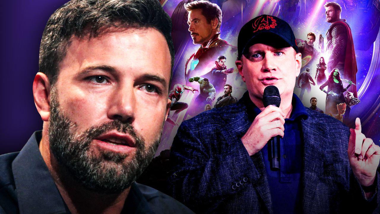 Ben Affleck, Kevin Feige with Avengers background