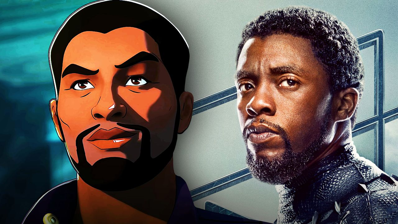 Animated T'Challa on left and Black Panther on right