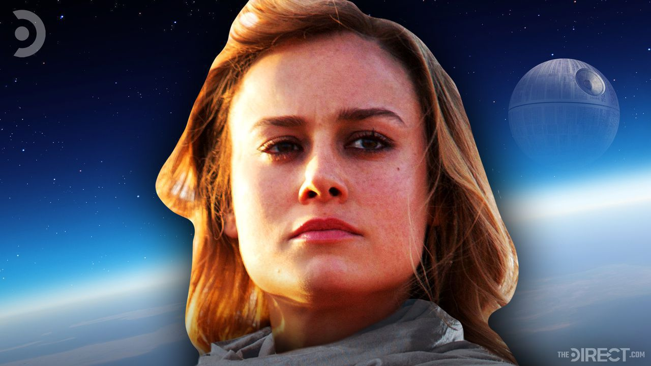 Brie Larson as Captain Marvel with the Death Star in the background