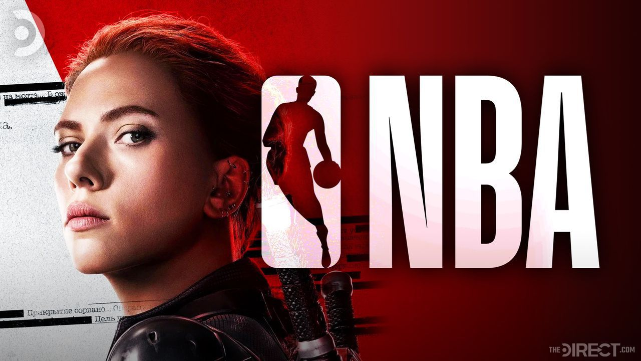 Black Widow, portrayed by Scarlett Johansson, and the NBA logo