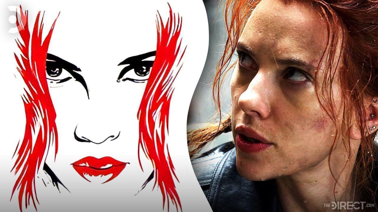 Stylised image of Black Widow on white background, Scarlett Johansson as Black Widow