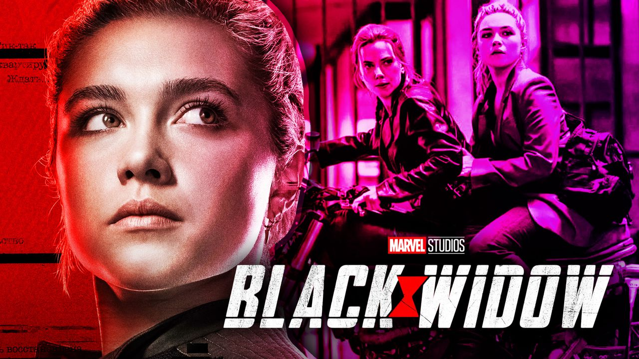 Florence Pugh as Yelena on left with Black Widow and Yelena on right