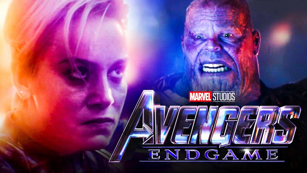 Brie Larson as Captain Marvel, Thanos, Avengers Endgame logo