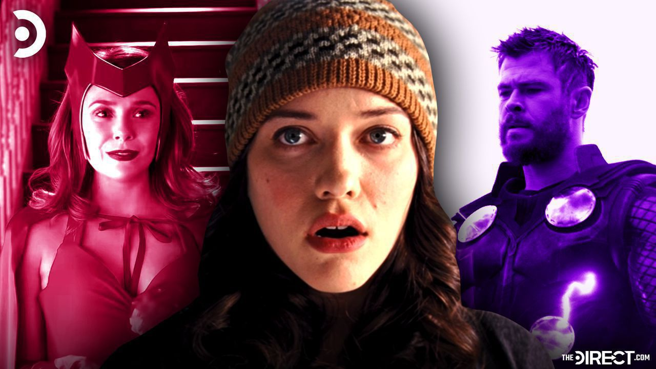 Kat Denning's Darcy in middle, Scarlet Witch on left, Thor on right