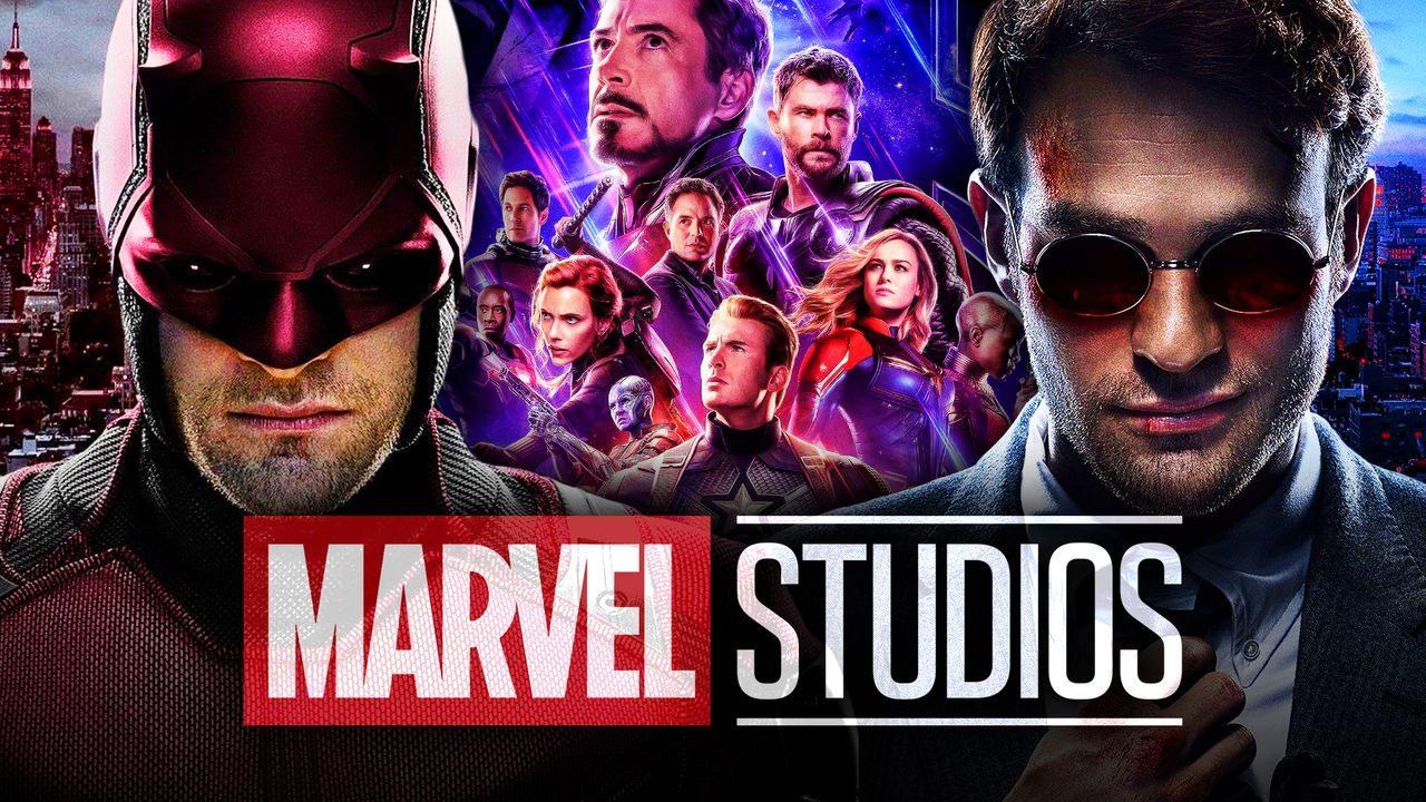 Matthew Murdock and Daredevil with Marvel Studios in foreground
