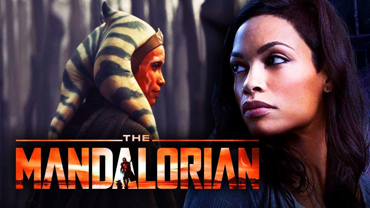 Ahsoka Tano from The Mandalorian, The Mandalorian logo, Rosario Dawson