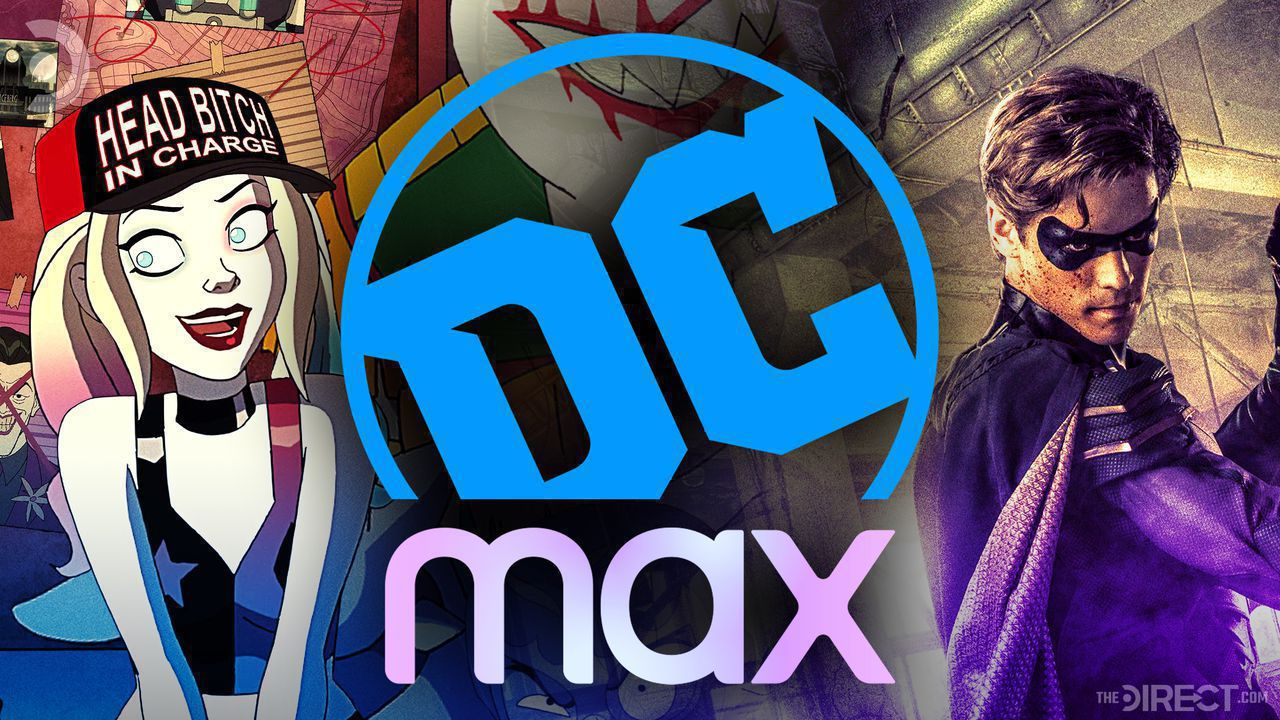 Cartoon Image of Harley Quinn, DC Logo combined with HBO Max Logo, Brenton Thwaites as Robin