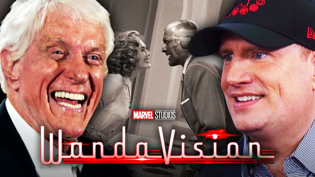 Dick Van Dyke on left, WandaVision in middle, Kevin Feige on right