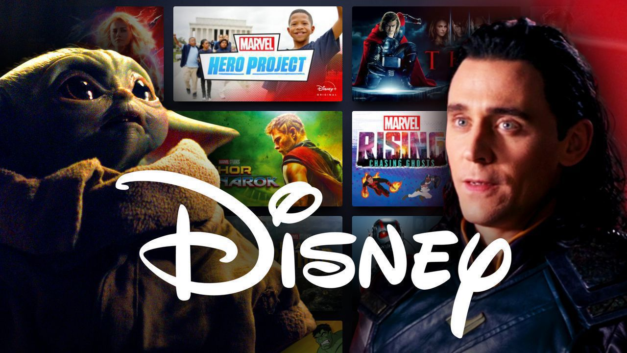 Baby Yoda and Loki in front of Disney+ homepage