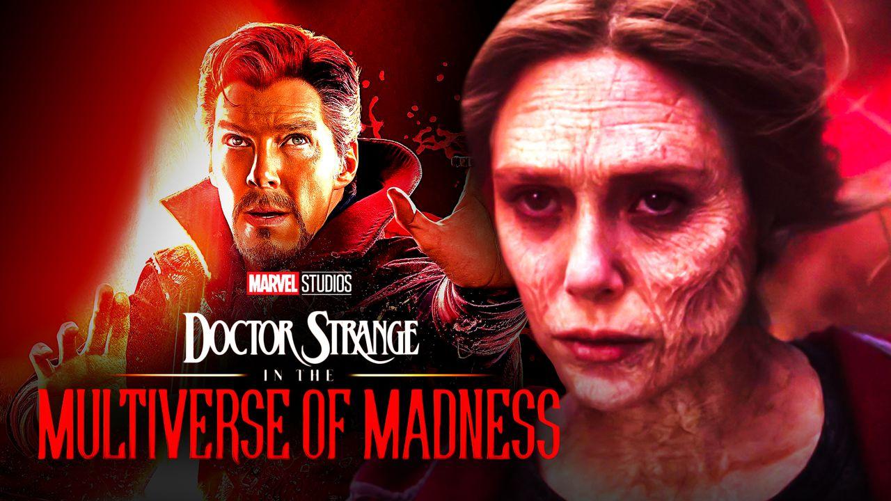 Elizabeth Olsen as Wanda Maximoff, Benedict Cumberbatch as Doctor Strange, Doctor Strange 2 logo