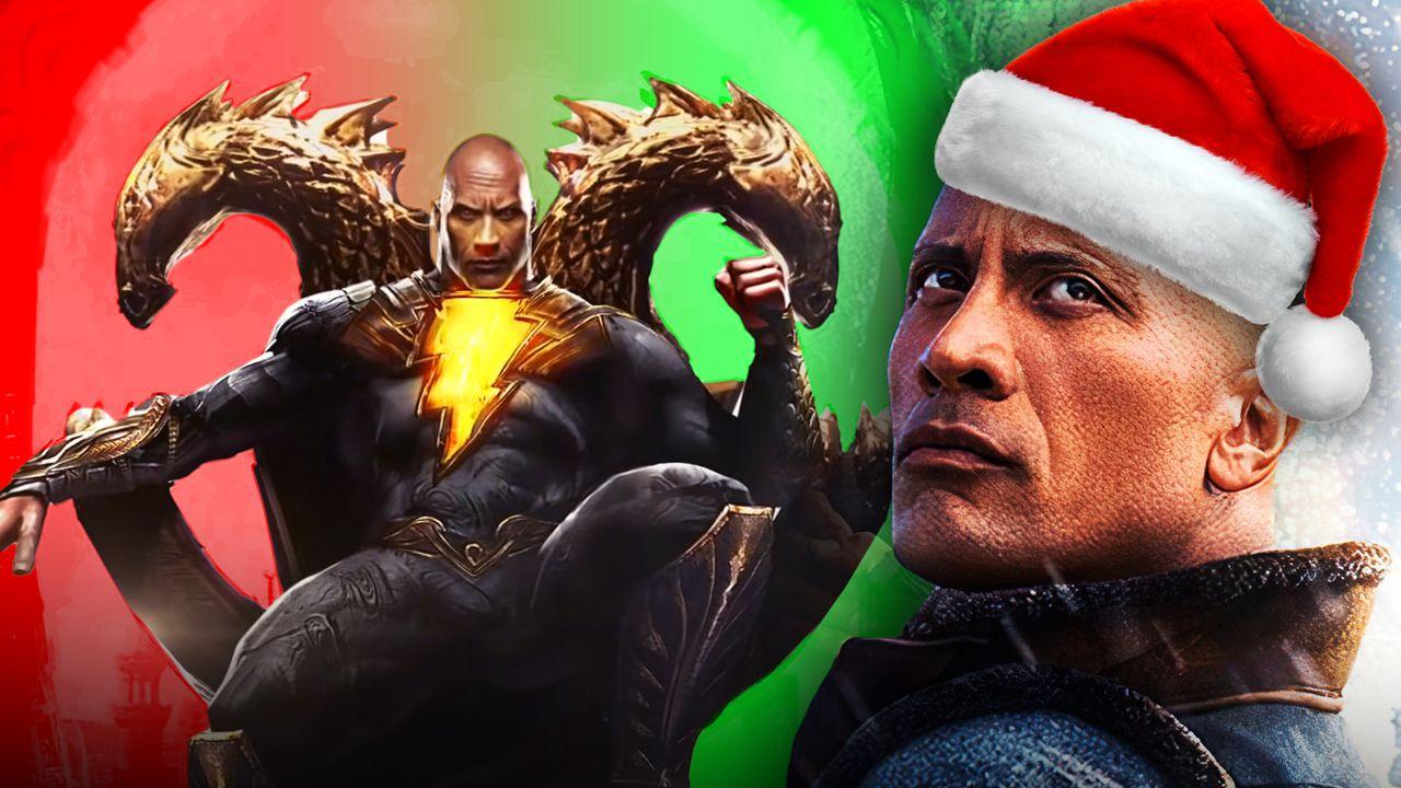 Dwayne Johnson as Black Adam, Christmas hat