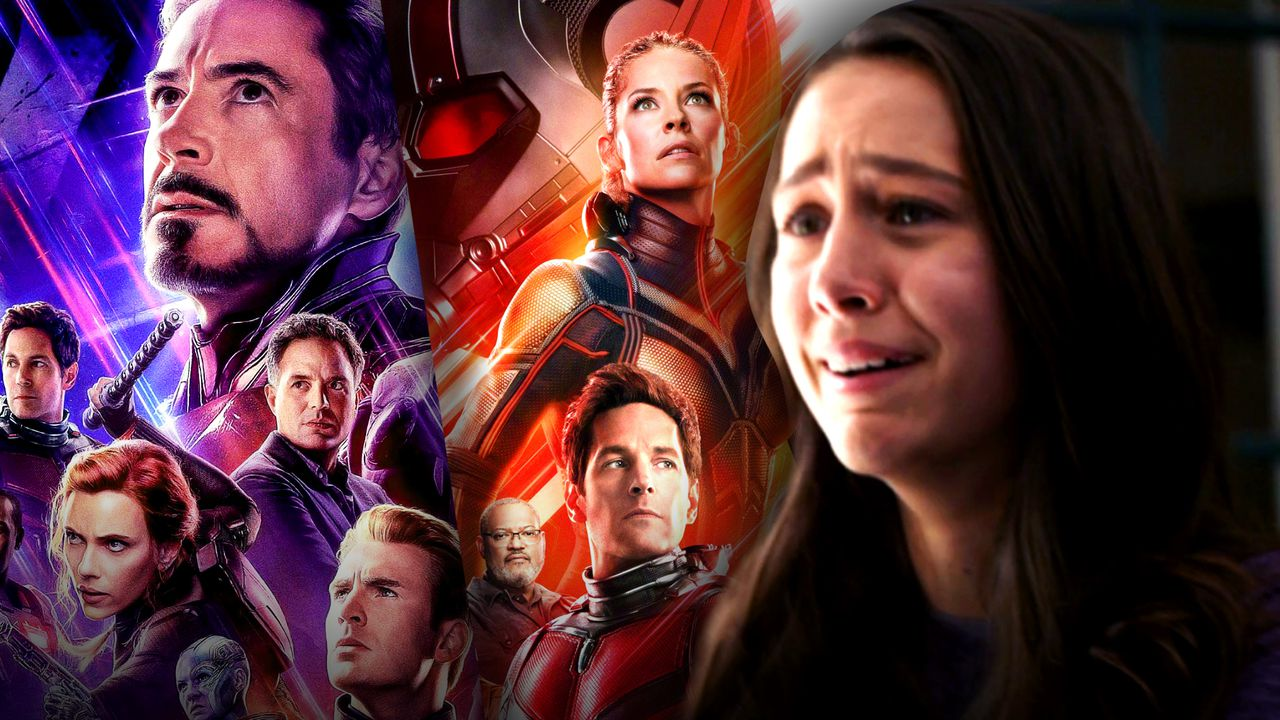 Avengers Infinity War Poster on Left, Emma Fuhrmann as Cassie Lang on Right