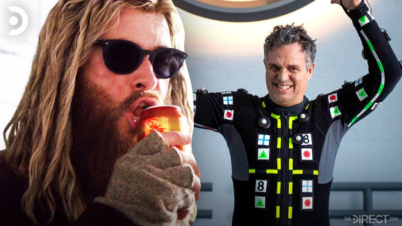 Chris Hemsworth as Bro Thor, Mark Ruffalo holding the Avengers logo