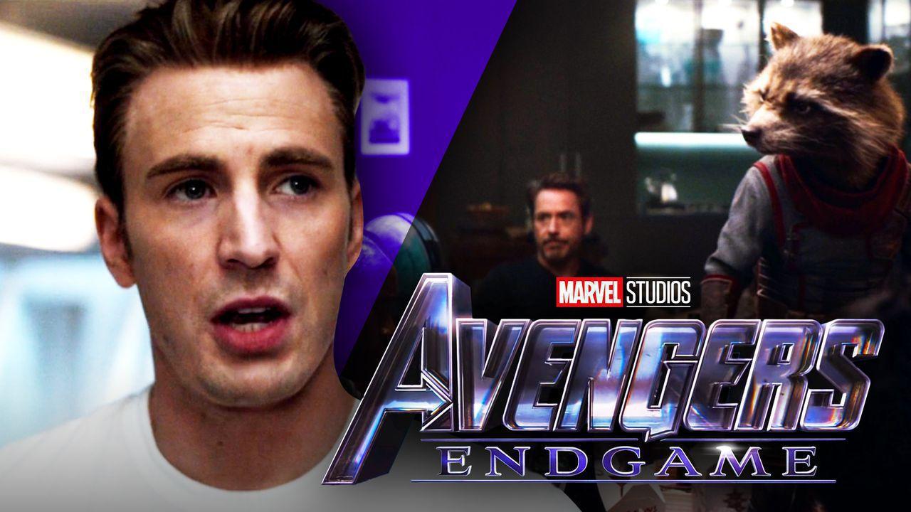 Chris Evans as Captain America, Robert Downey Jr., Rocket Raccoon, Avengers: Endgame logo