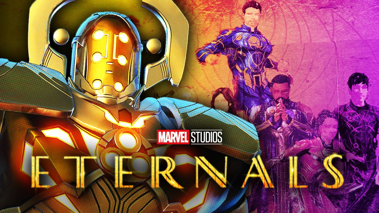 Celestial on left with Eternals on right with Eternals logo in foreground