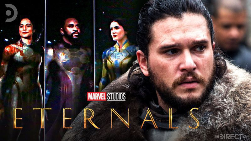 Kit Harrington in front of an Eternals cast photo with The Eternals logo in the foreground.