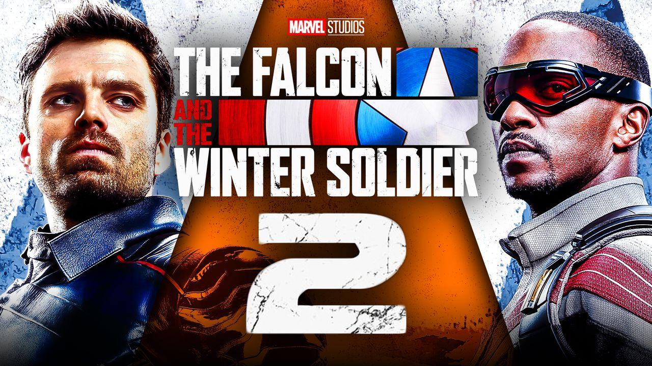 The Falcon and the Winter Soldier logo, Sebastian Stan as Bucky, Sam Wilson as Falcon