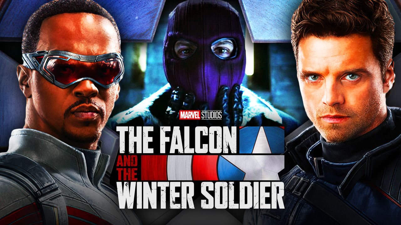 Falcon left, Winter Soldier Right, Zemo Middle, The Falcon and the Winter Soldier title low middle