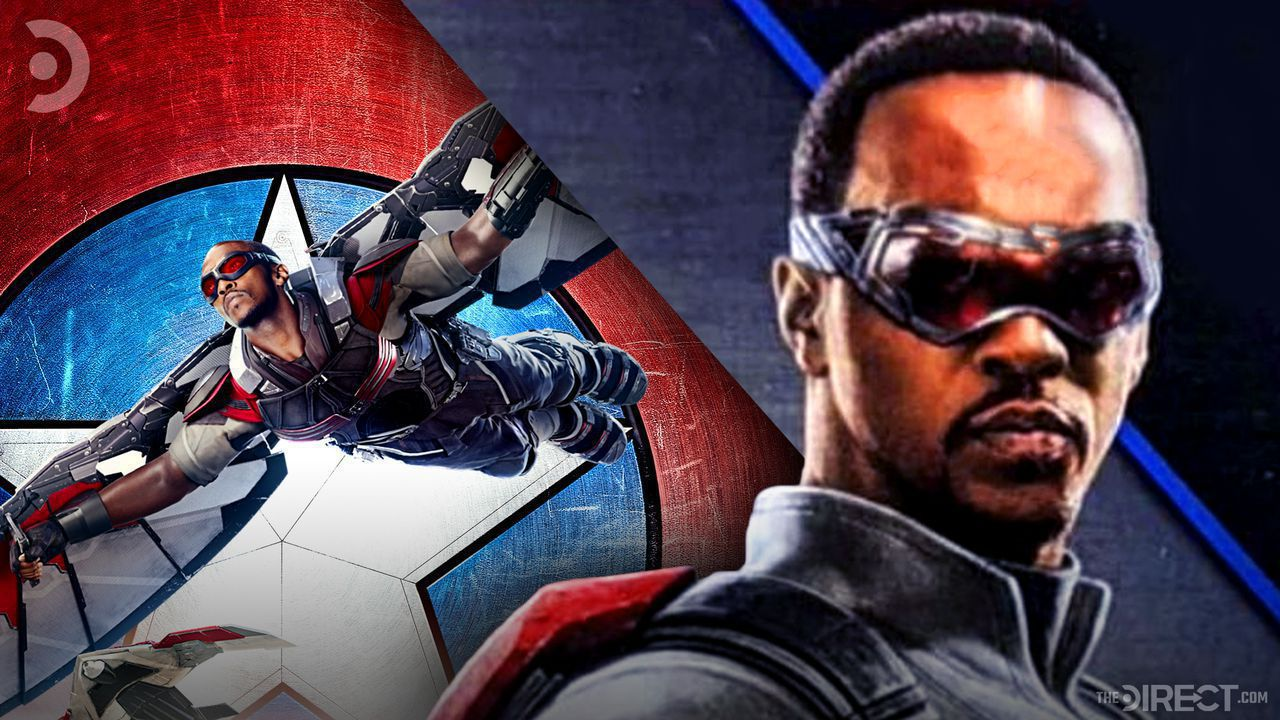 Falcon flying and Anthony Mackie's Falcon
