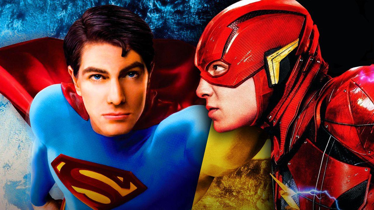 Brandon Routh as Superman, Ezra Miller as The Flash