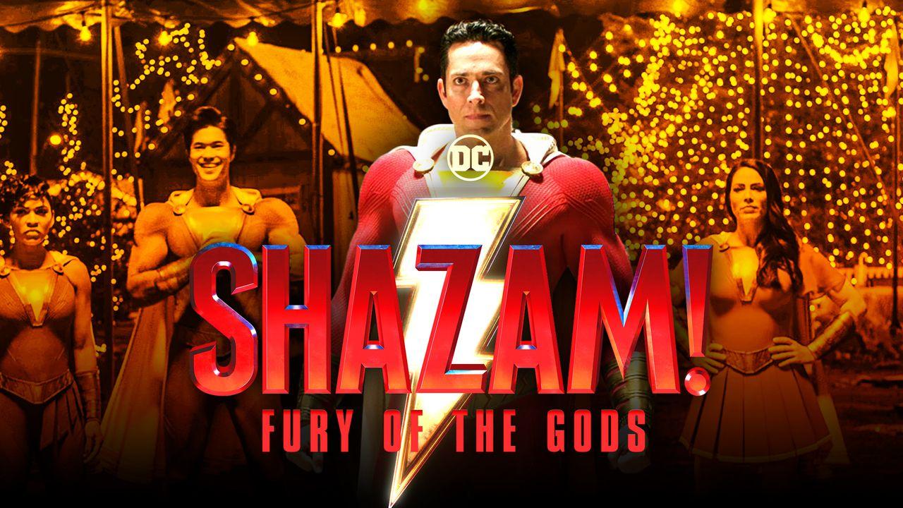 Shazam Fury of the Gods logo, Zachary Levi as Shazam, Shazam family