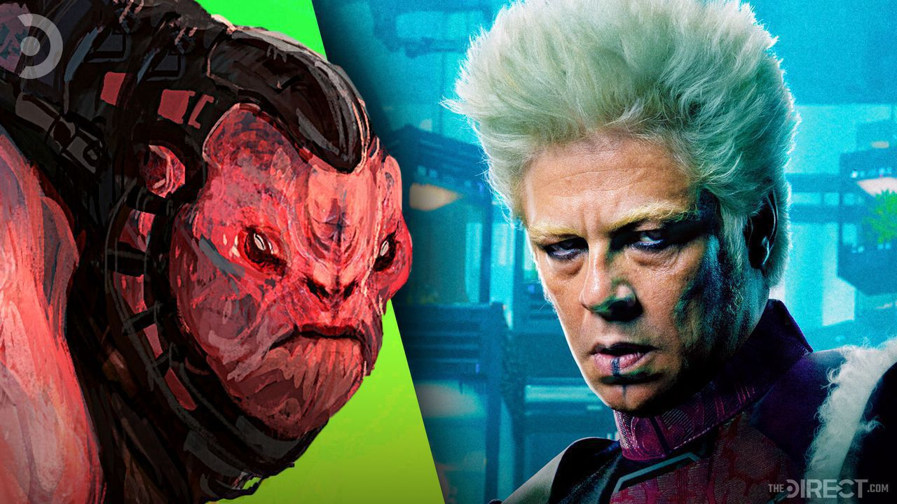A rejected piece of concept art from Guardians of the Galaxy of a red alien, Benicio del Toro