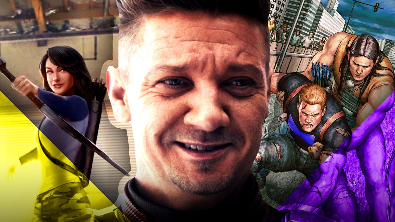 Kate Bishop, Jeremy Renner as Hawkeye, Hawkeye and Red Wolf from Marvel Comics