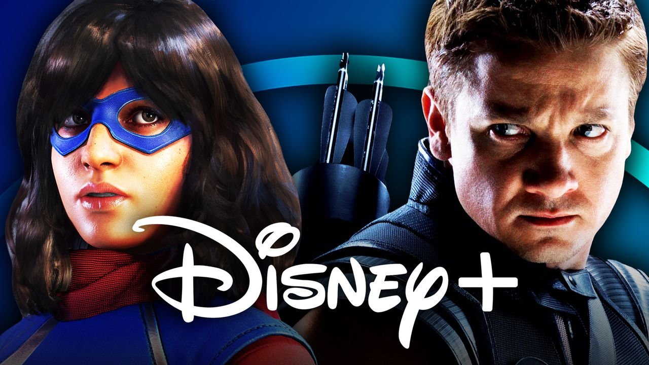 Ms. Marvel on left and Hawkeye on right with Disney+ logo in foreground