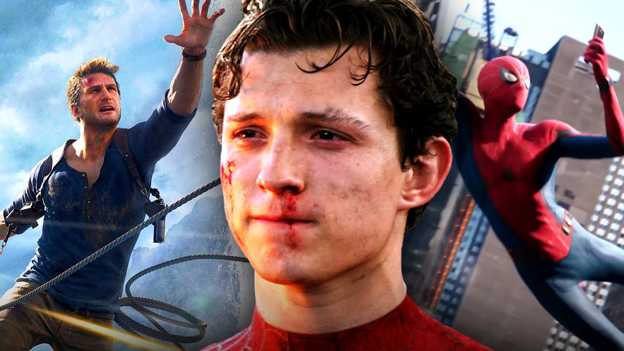 Uncharted's Drake on left, Tom Holland in middle, Spider-Man on right