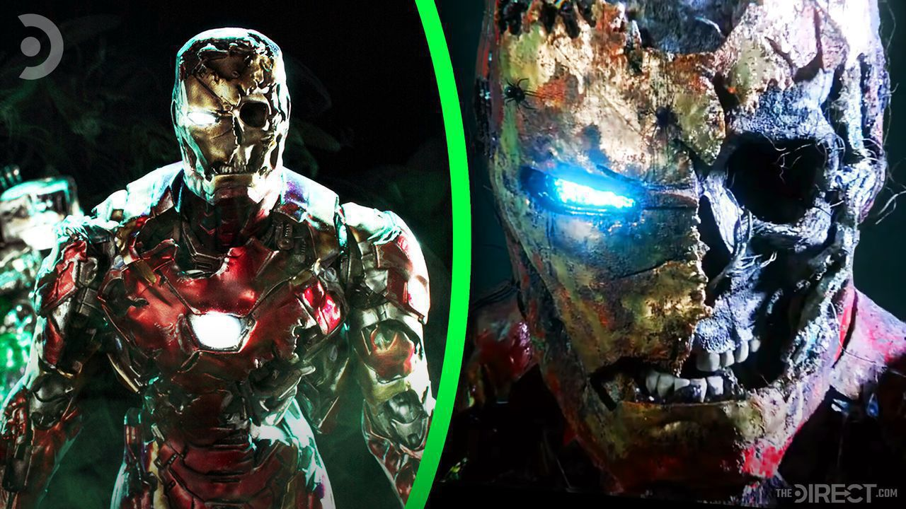 Undead Iron Man on left, close up of undead Iron Mna's face on right