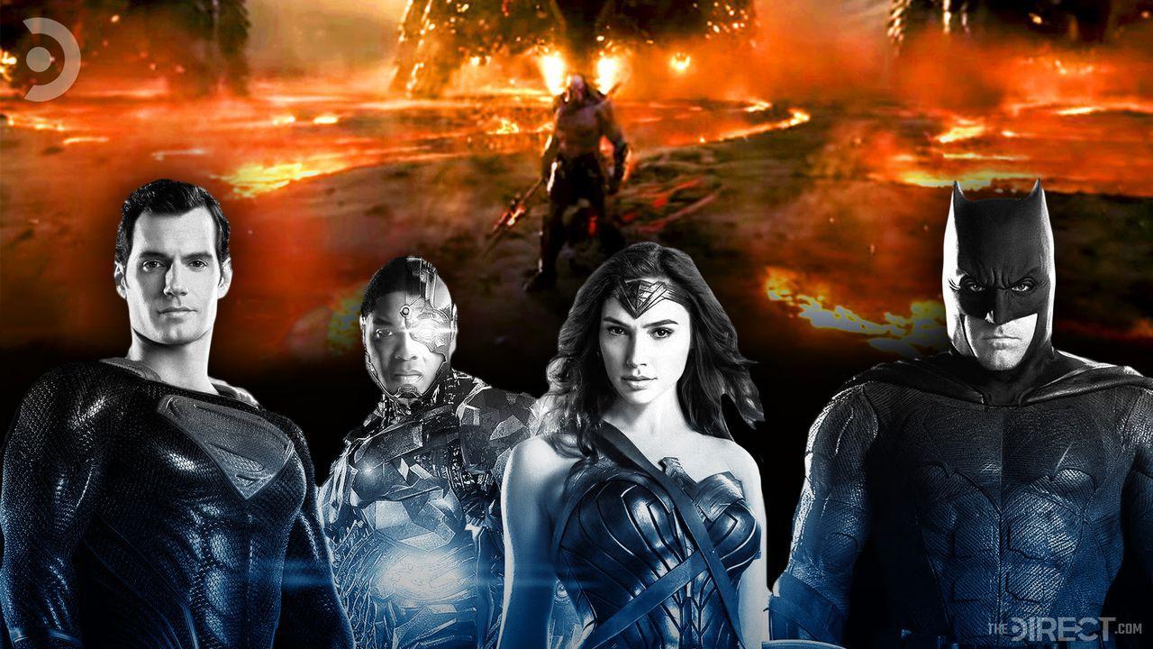 Superman, Cyborg, Wonder Woman, Batman, and Darkseid