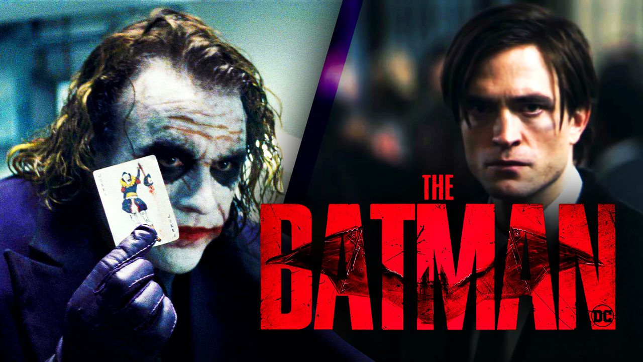 Ledger Joker, Pattinson Bruce Wayne, The Batman logo