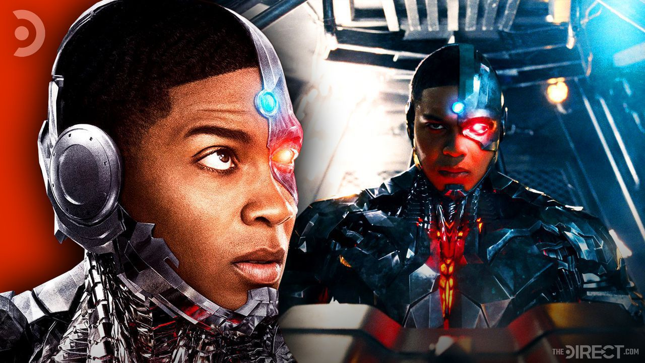 Ray Fisher's Cyborg close-up and wide shot.