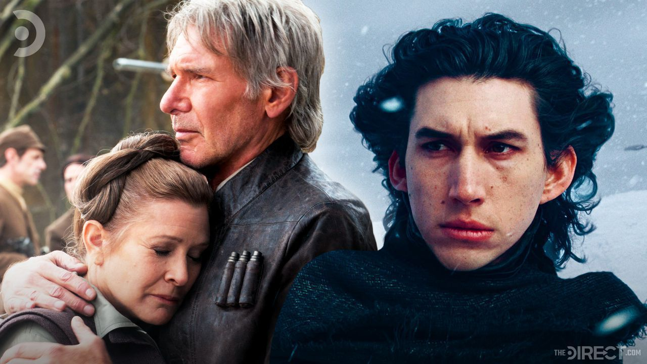 Leia Organa and Han Solo embracing, Adam Driver as Kylo Ren