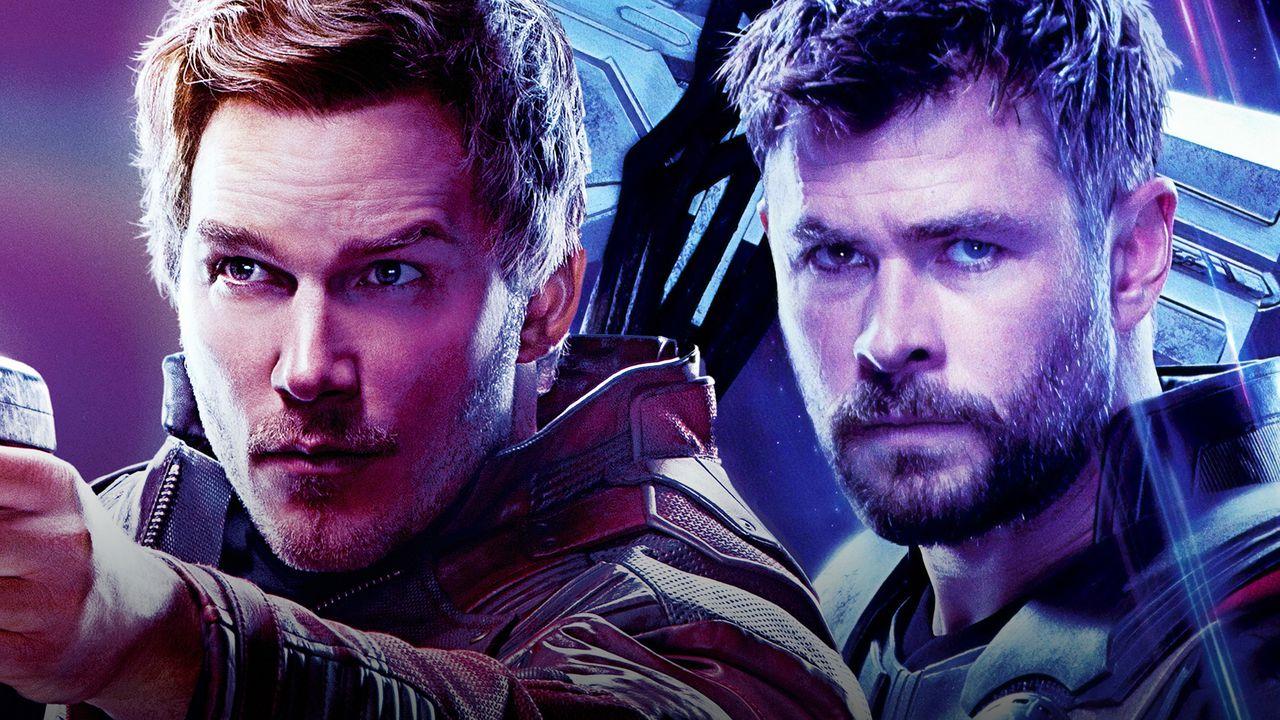 Chris Pratt as Star Lord, Chris Hemsworth as Thor