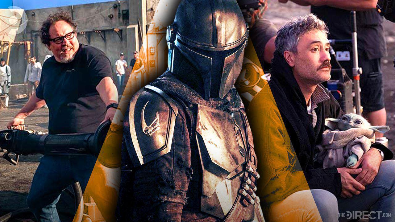 Jon Favreau, the Mandalorian suit, and Taika Waititi holding Baby Yoda