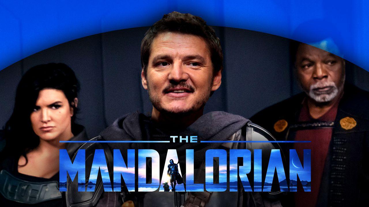 The Mandalorian logo, Pedro Pascal, Cara Dune, Greef Karga