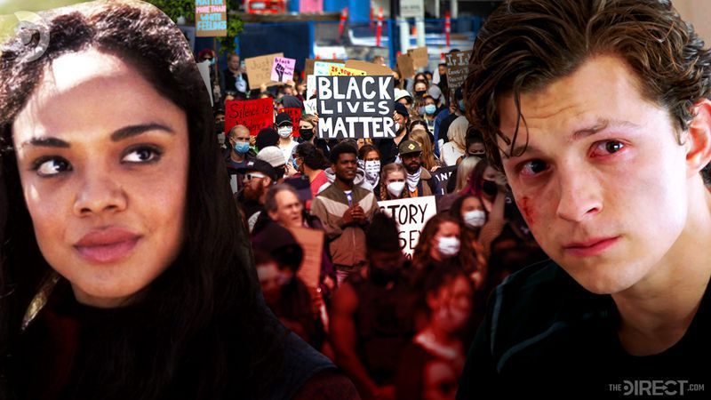 Tessa Thompson and Tom Holland, Black Lives Matter Protesters