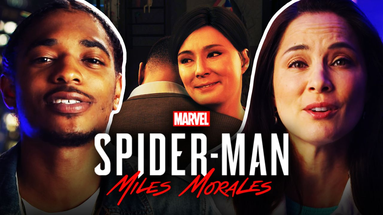 Miles Morales and Rio Morales hug, while actors Nadji Jeter and Jacqueline Pinol border the image