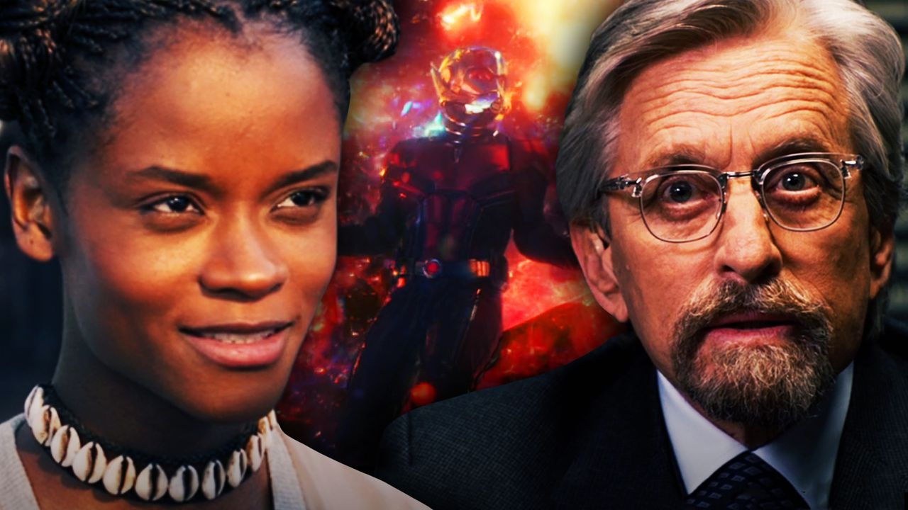 Shuri on left, Hank Pym on right, Quantum Realm in background