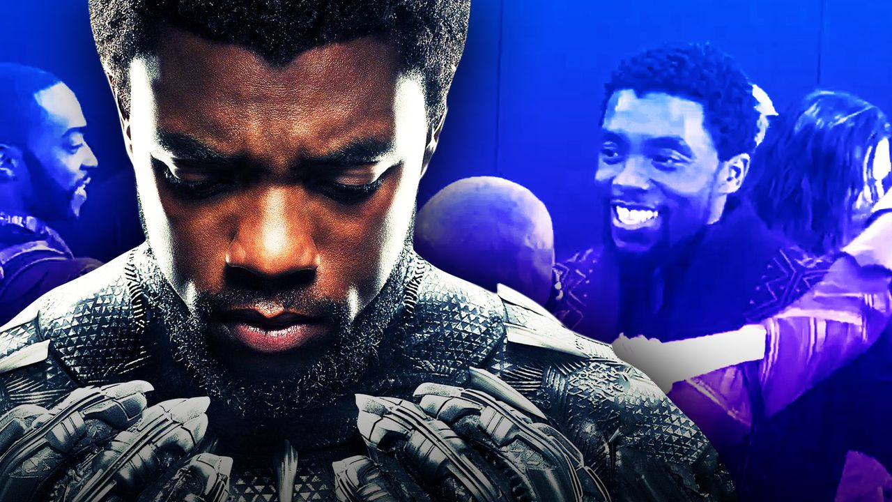 Chadwick Boseman as Black Panther on left with purple background