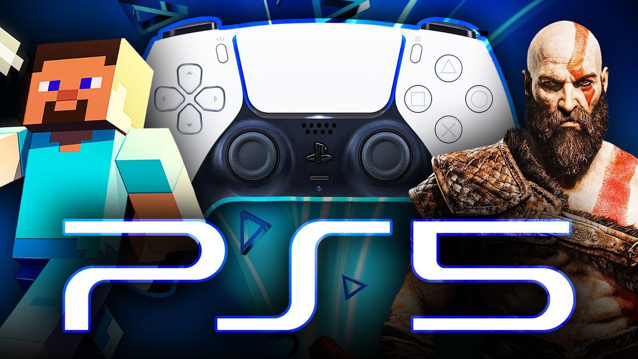 Minecraft Steve, PlayStation 5 controller, God of War's Kratos