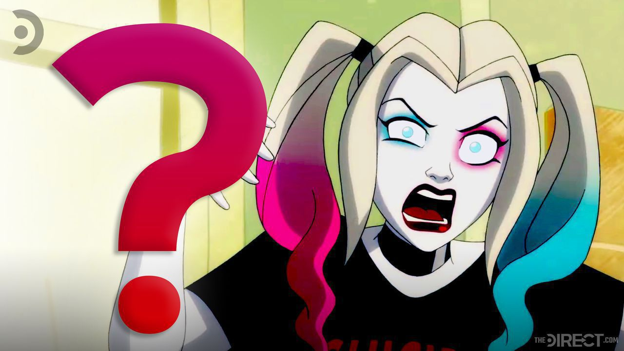 Animated Harley Quinn next to question mark
