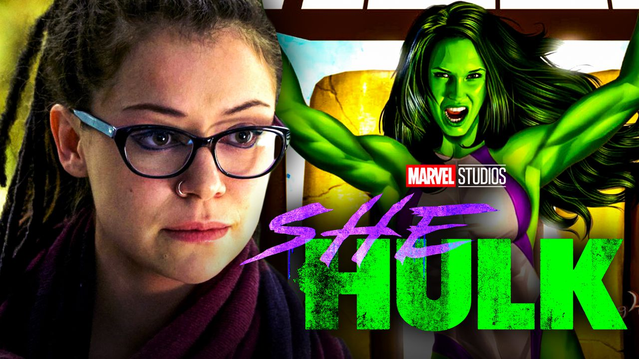 Tatiana Maslany on left and She-Hulk in background with logo in foreground