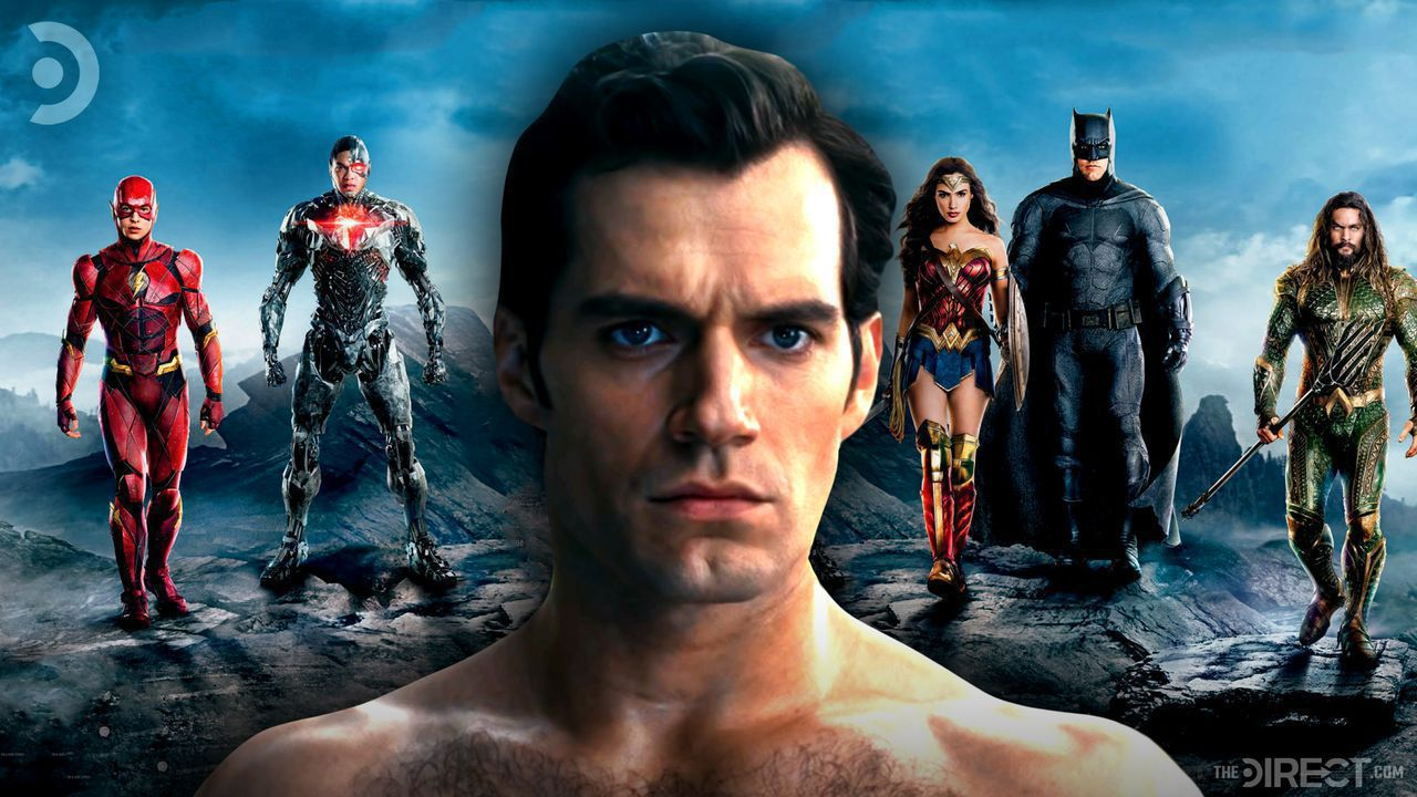 Henry Cavill as Superman, The Justice League in the background