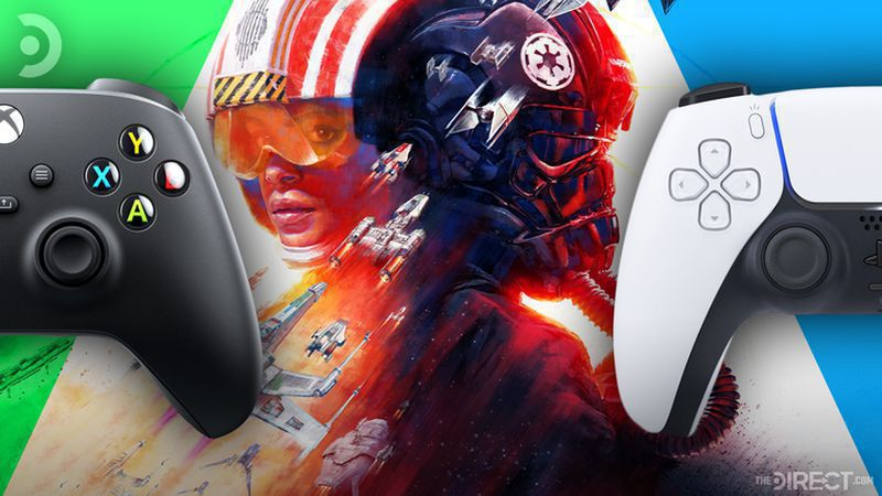 X-Box One controller, artwork for Star Wars: Squadrons, and a PS5 controller.