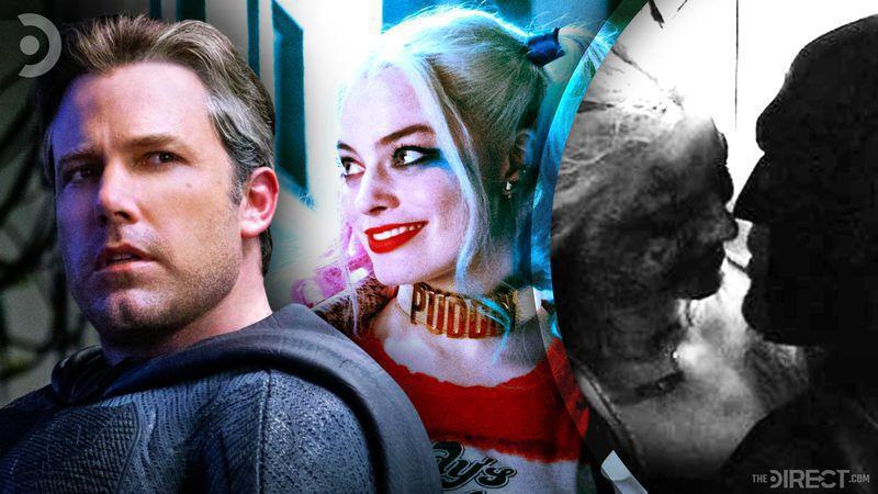 Ben Affleck as Batman, Margot Robbie as Harley Quinn, Batman and Harley Quinn's intimate moment