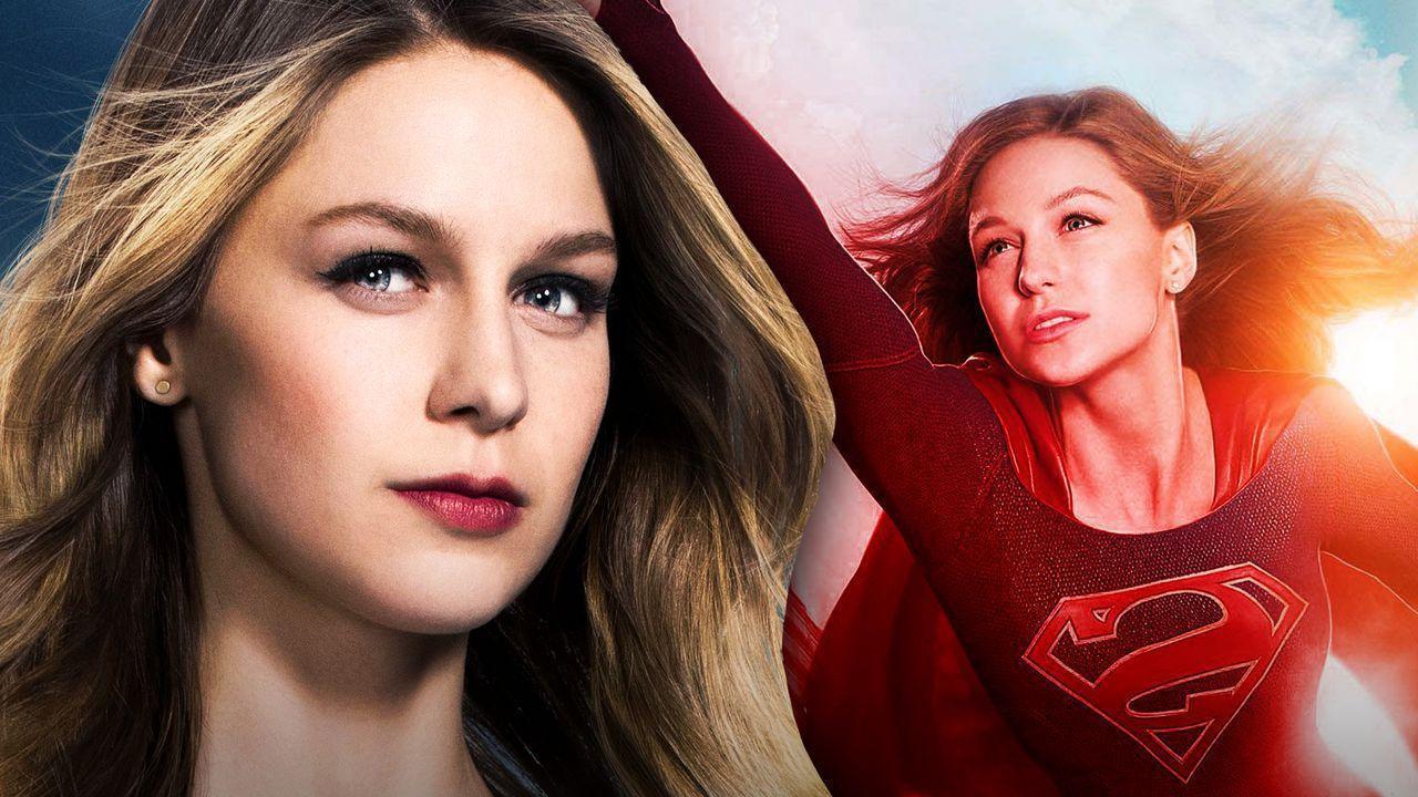 Closeup of Melissa Benoist as Supergirl, Melissa Benoist as Supergirl flying