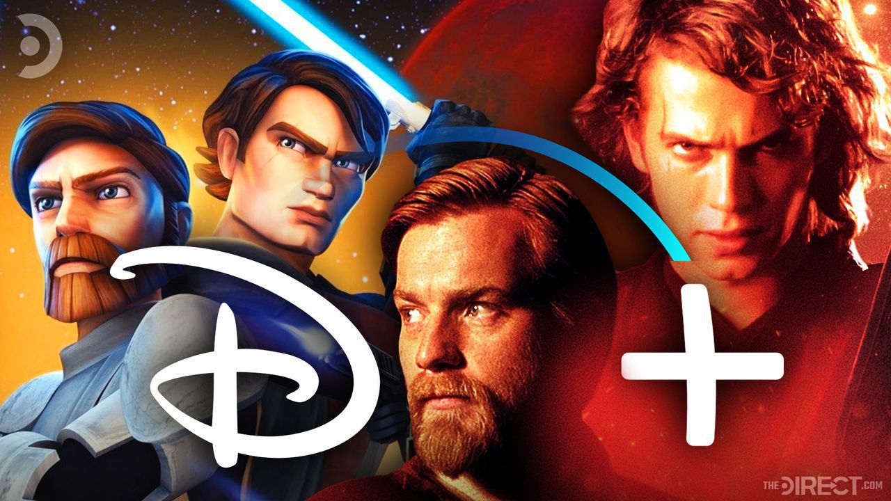 Animated Obi-Wan Kenobi and Anakin Skywalker alongside Ewan McGregor and Hayden Christensen