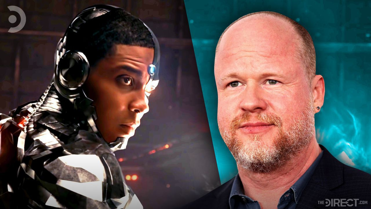 Ray Fisher as Cyborg in Justice League, Joss Whedon on a blue background